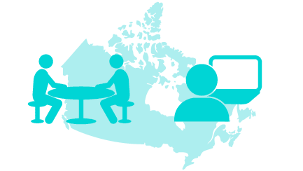 graphic of a debate and a person looking at a computer over a map of canada